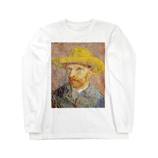 ゴッホ / 1887 / Self-Portrait with Straw Hat Vincent van Gogh Long sleeve T-shirts