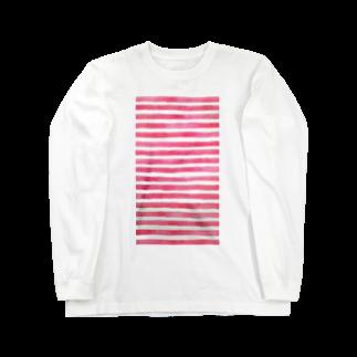 Teatime ティータイムのピンク ストライプ 水彩 絵の具 Long sleeve T-shirts