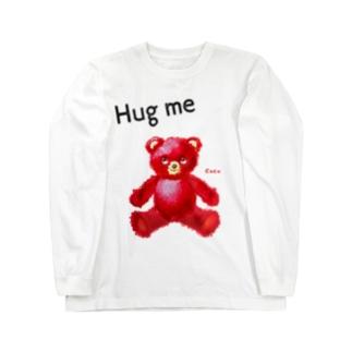 【Hug me】(赤くま) Long sleeve T-shirts