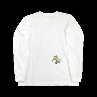 Drecome_Designのいたずらデザイン(ちょっとハナグモついてますよ) Long sleeve T-shirts
