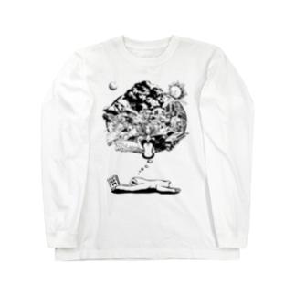 なまけものの夢 モノクロ Long sleeve T-shirts