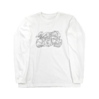 日本の美 葛飾北斎「群鶏」モノクロ版 Long sleeve T-shirts