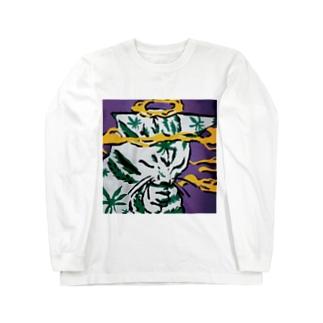 きめねこ(大麻をキメている猫) Long sleeve T-shirts