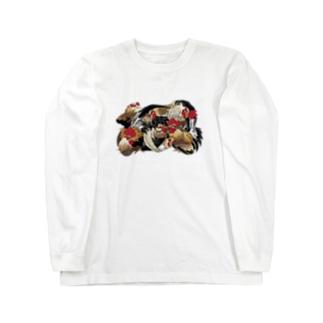 日本の美 葛飾北斎「群鶏」カラー版 Long sleeve T-shirts