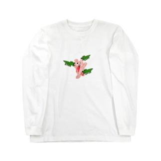 ワニに食われてるくま Long sleeve T-shirts