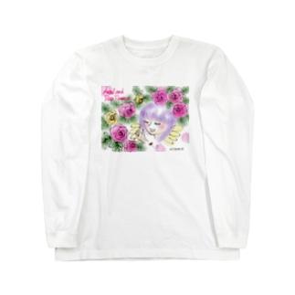 Ang27エンジェルと薔薇の花 Long sleeve T-shirts