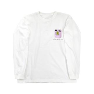 可愛い洗濯機のゲームが胸にある Long sleeve T-shirts