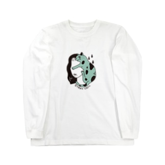 猫と女性 Long sleeve T-shirts