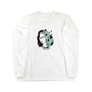 猫と女性 Long sleeve T-shirts