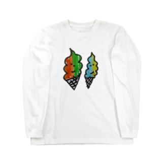 らくがき帳に描いたソフトクリーム Long sleeve T-shirts