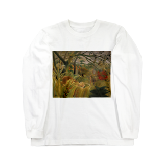 Art Baseの熱帯嵐のなかのトラ / アンリ・ルソー(Tiger in a Tropical Storm(Surprised!)1891) Long sleeve T-shirts