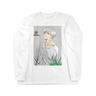 植物と男の子 Long sleeve T-shirts
