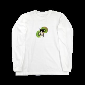 保護猫カフェ「駒猫」さん家のNo.5 キウイくん♪ Long sleeve T-shirts