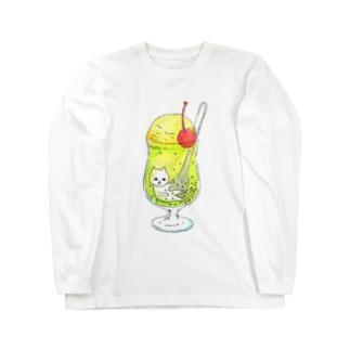クリームソーダにたゆたうネコ Long sleeve T-shirts