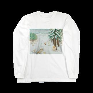 ひつじ好きの未草のギャラリーの羊雪季節 Long sleeve T-shirts