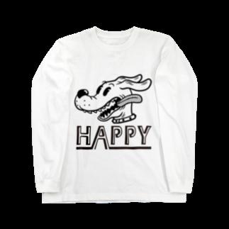 nidan-illustrationのhappy dog #1 (black ink) Long sleeve T-shirts