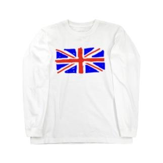 指で書いたらパンク調になった英国旗 Long sleeve T-shirts