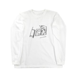 窓際のイラスト1 Long sleeve T-shirts