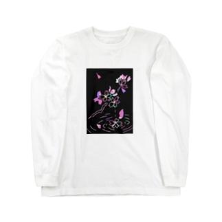 桜×スクラッチアート風 Long sleeve T-shirts