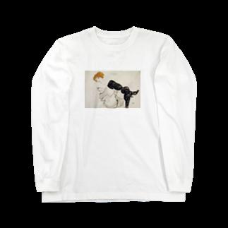 Art Baseのエゴン・シーレ / 1913 / Woman in Black Stockings / Egon Schiele Long sleeve T-shirts