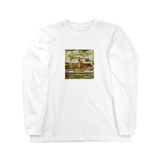 Art Baseのエゴン・シーレ / 1913 /Stein on the Danube, Seen from the South / Egon Schiele Long sleeve T-shirts