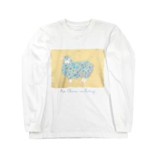 あおいお花のひつじ Long sleeve T-shirts