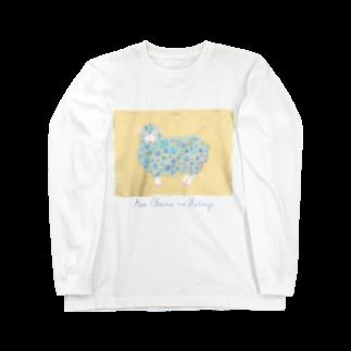 Atelier Ellie*のあおいお花のひつじ Long sleeve T-shirts