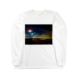 No.20 バットにゃんがUFOに~!! Long sleeve T-shirts