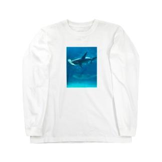 ハンマーシャークとジンベエザメ Long sleeve T-shirts