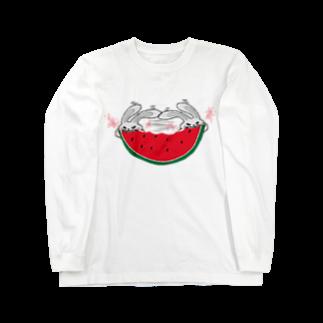 ひよこねこ ショップ 1号店のスイカの早食い Long sleeve T-shirts