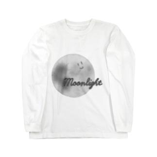 顔つき月【モノクロ】 Long sleeve T-shirts