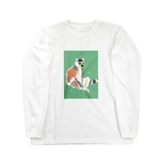 アメコミ風×ワオキツネザル Long sleeve T-shirts