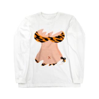 りおたのおっぱいTシャツ(トラ柄オレンジ) Long sleeve T-shirts