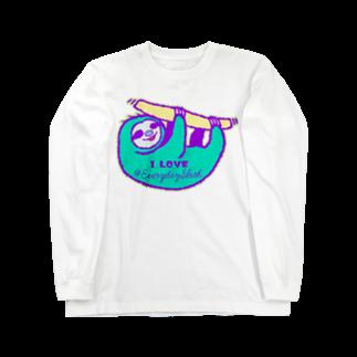 七味田飯店(SUZURI支店)のVIVID SLOTH Long sleeve T-shirts