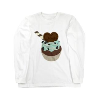 チョコミントカップケーキ Long sleeve T-shirts