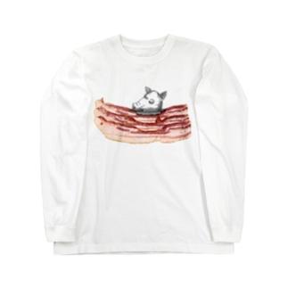 肉食/ベーコン×豚頭さん Long sleeve T-shirts