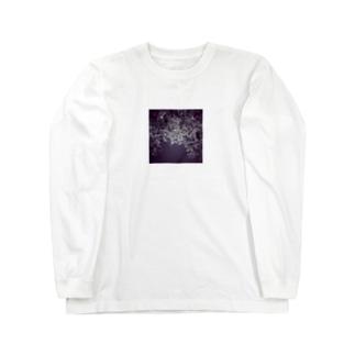 モノクロ葉っぱ Long sleeve T-shirts