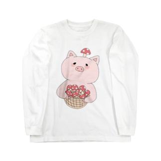 きのこ狩り豚ちゃん Long sleeve T-shirts