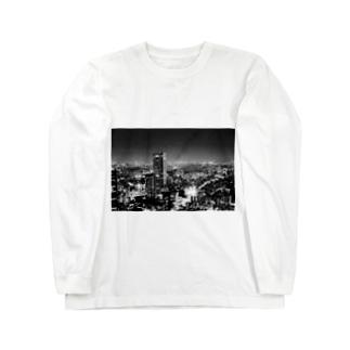 モノトーン 夜景 Long sleeve T-shirts