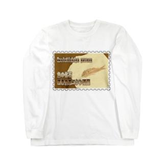 魚の化石:硬骨魚綱ニシン亜目★白地の製品だけご利用ください!! Fish Fossil: Gosiutichys parvus★Recommend for white base products only !!  Long sleeve T-shirts