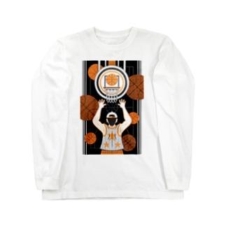ねことりむし★CAT BIRD INSECTのBasketball boy(remake) Long sleeve T-shirts