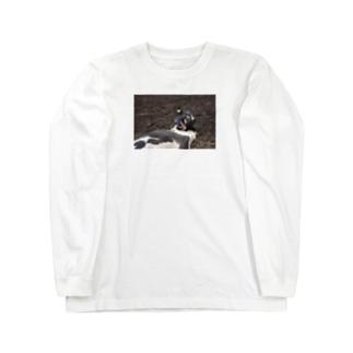 強烈!!変顔ウシくん  Long sleeve T-shirts