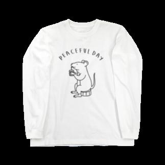 AliviostaのPeaceful Day ネズミ 動物イラスト Long sleeve T-shirts