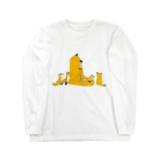 きつねの親子 Long sleeve T-shirts