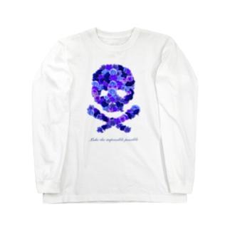 フラワードクロ(ブルー) Long sleeve T-shirts