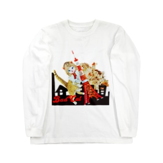 BAD CAT ニャジラ Long sleeve T-shirts