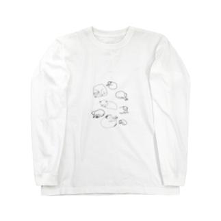 眠るたくさんのにゃーちゃん Long sleeve T-shirts
