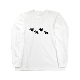 水平線とカラス Long sleeve T-shirts