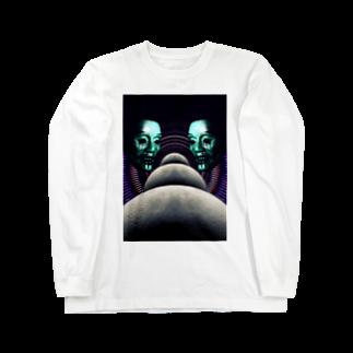 HIORIの月並び液垂れ Long sleeve T-shirts