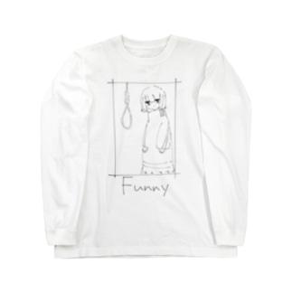 くびつりFunny白系 Long sleeve T-shirts